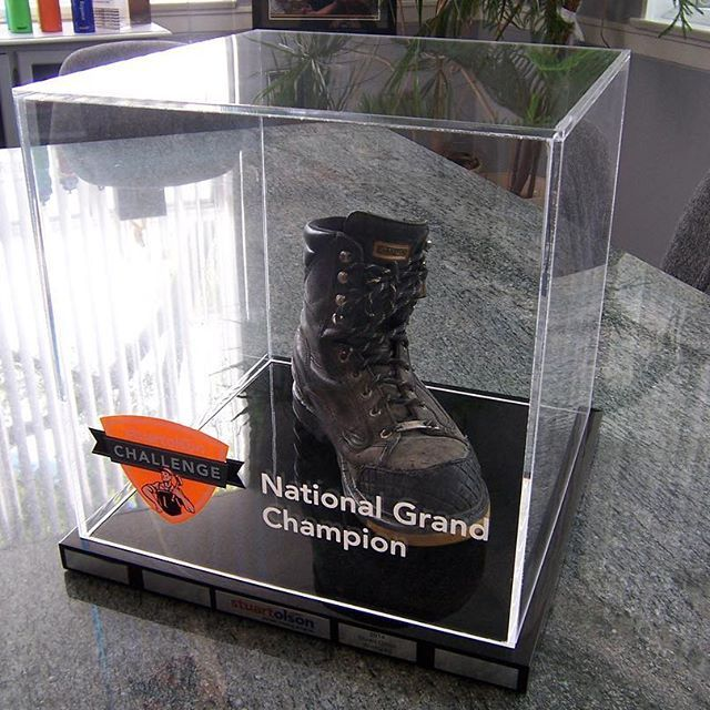Just because it can't be embedded doesn't mean we can't come up with a kick-ass award! The Boot Award, which is technically a mount, was done for the 1st Annual Stuart Olson challenge, and it's one of the coolest awards we've done, to boot! 👢  .  .  .  .  .  #clearmount #lucite #acrylic #madeincanada #clearmountinthewild #torontomade #investinquality #brandinglastingimpressions #customawards #awards #recognition