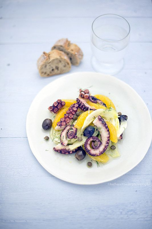 octopus salad with fennel, orange and capers www.pane-burro.blogspot.it