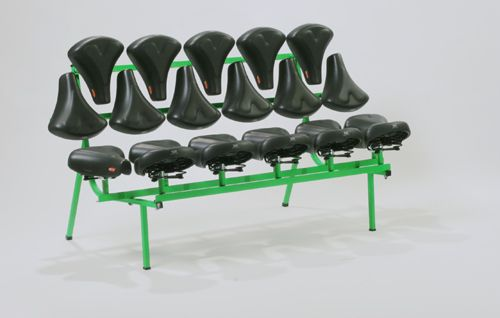 bike seats as bench.  #repurposed #recycled