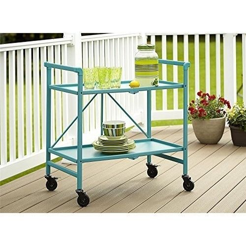Rolling Serving Cart Metal Indoor Outdoor Flat Fold Storage Sturdy Stylish Teal #RollingServingCart #Modern