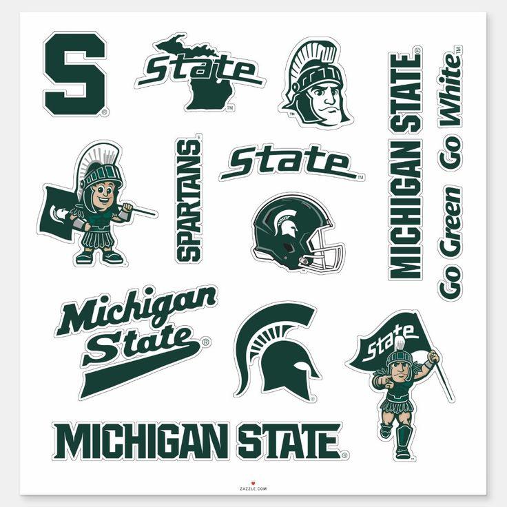 MSU Michigan State Spartans Logos Sticker in