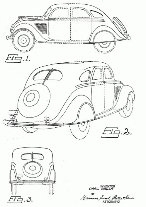 US Patent Drawings for Carl Breer's 1934 Chrysler and