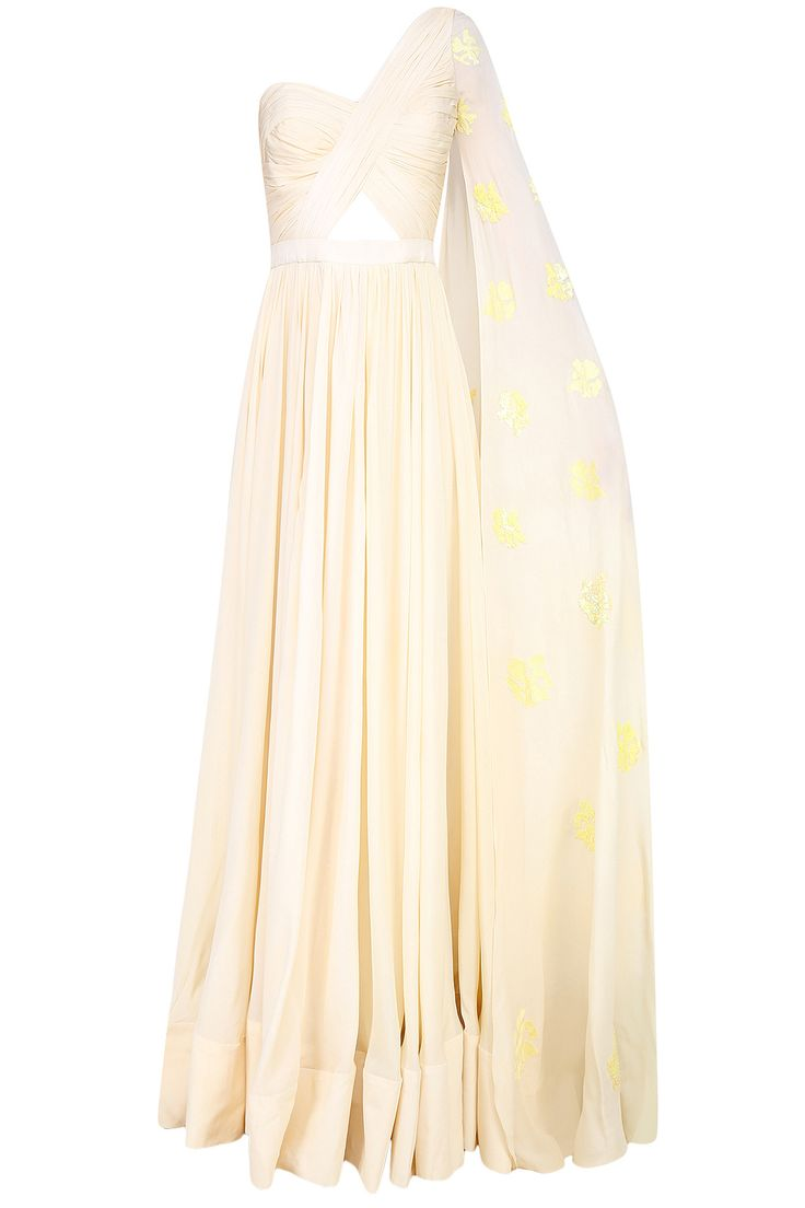 Butter cream floral embroidered one shoulder drape sleeve gown available only at Pernia's Pop Up Shop.