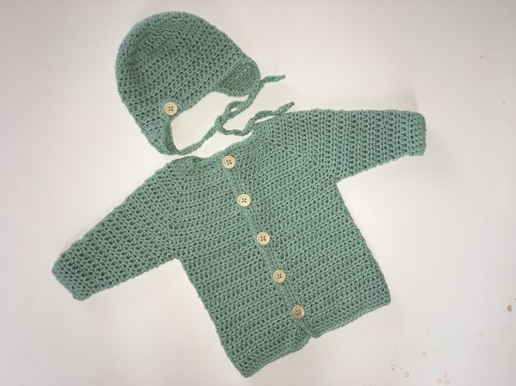 Heklet jakke og lue str nyfødt / Crochet baby jacket and hat size newborn