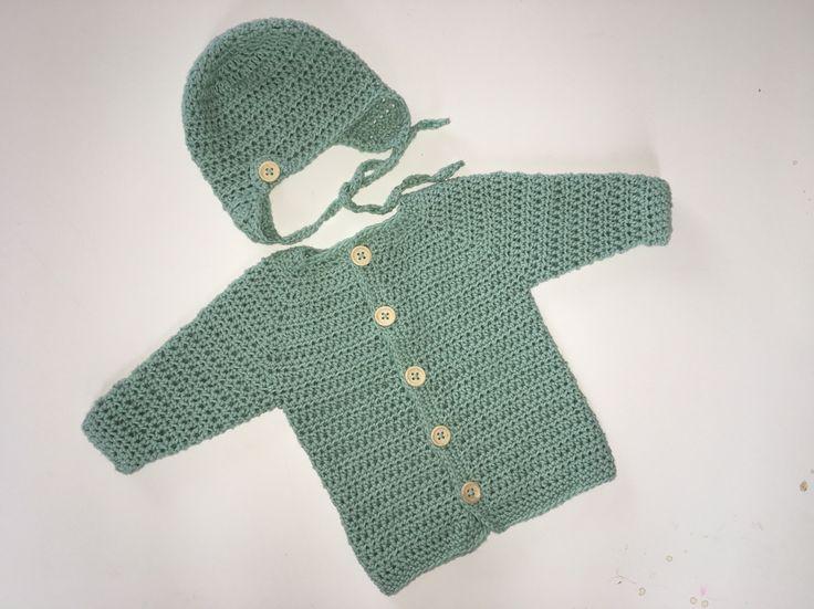 Heklet jakke og lue str nyfødt / Crochet baby jacket and hat size newborn
