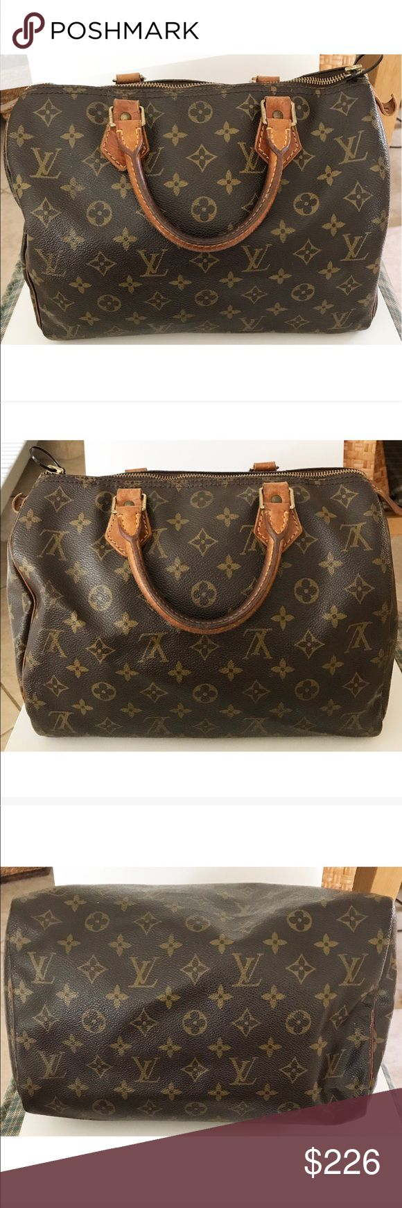 """💯Authentic Louis Vuitton Monogram Speedy 30 Bag Authentic Louis Vuitton Speedy 30 bag. Made in France, 12""""L x 8.3""""H x 6.7""""D, date code SP0965. Monogram leather has darkened in color, scuffs, minor cracks near zipper, and dirt marks. Leather trim/handles shows signs of aging, wear, scuffs, and darkening on handles. Leather tab and zipper pull came off, but zipper still works (will include in case you want to fix). Hardware has fading and scratches. Interior has dirt marks and minor rips. Bag…"""