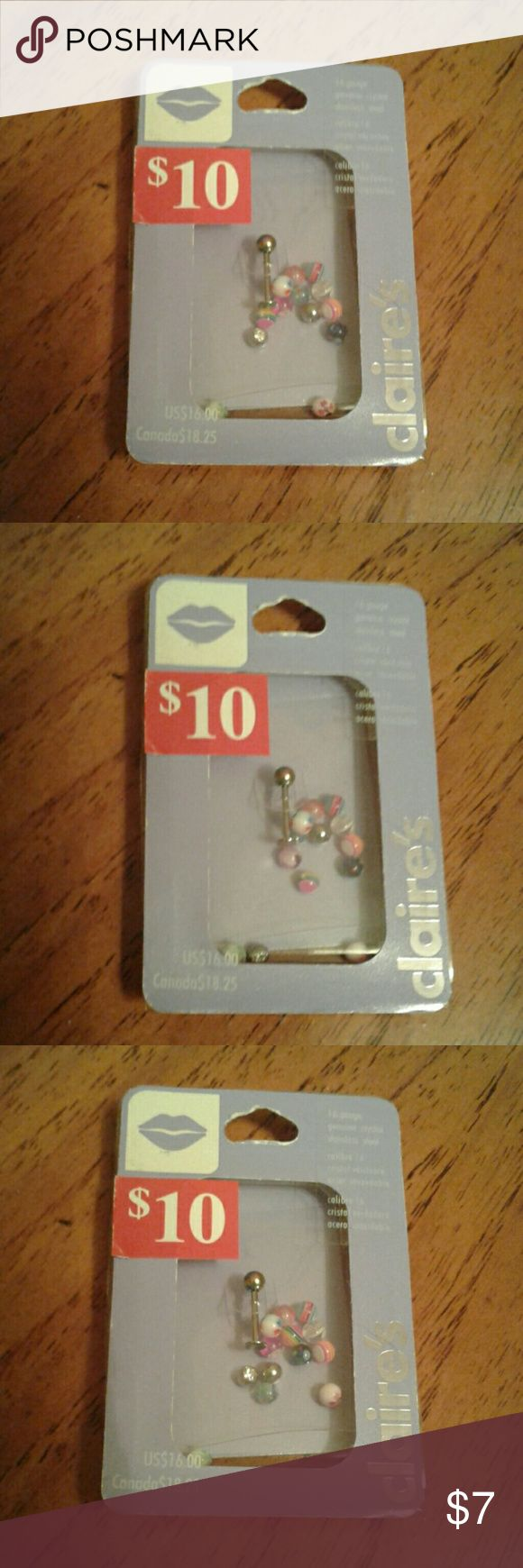 NIB Assorted Labret Rings 16g Unopened, 15 different balls, rhinestone, metallic, stripes, flower, silver sparkles, etc. Claire's Jewelry