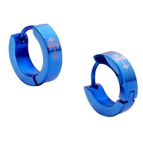 R&B Joyas - Pendientes de hombre, anillos cruz, acero inoxidable, color azul / gris: Amazon.es: Joyería