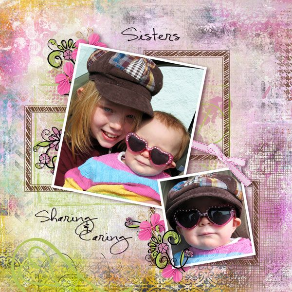 Sisters Sharing and Caring by Tbear. Kit used: Get Your Own Art 2 http://scrapbird.com/designers-c-73/k-m-c-73_516/mamrotka-designs-c-73_516_85/get-your-own-art-2-p-16837.html