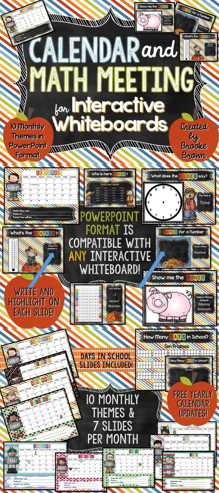 Kindergarten Calendar Powerpoint : Interactive calendars and math meetings for any