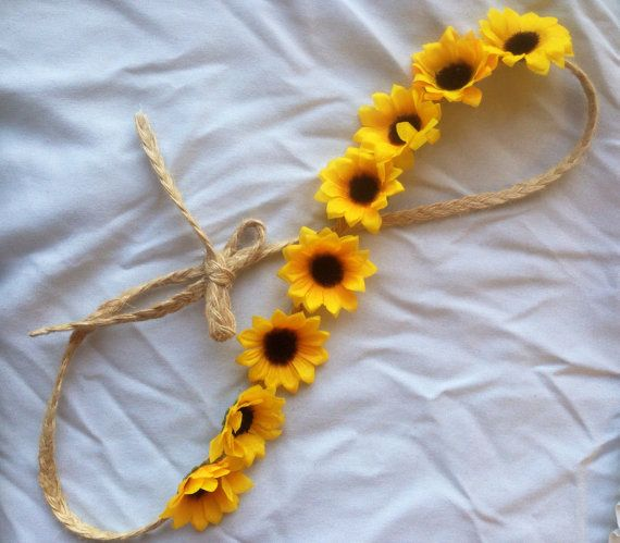 Ready to ship  •small sunflowers (yellow petals with a fuzzy, brown center) on a tan braided band •Braided band can be tied to your desired length allowing for a perfect, comfortable fit for you! •Perfect accessory to complete your spring/summer outfit! •Perfect for musical festivals, pool parties, beach days, or just any day