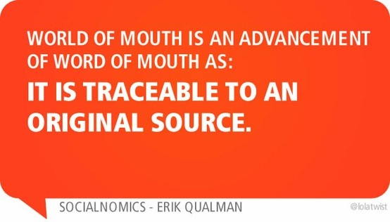 World of mouth is an advancement of word of mouth as: it is traceable to an original source.