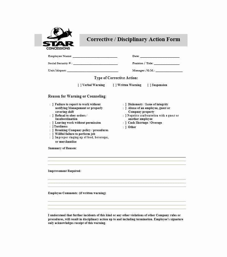 Employee Disciplinary Action Form Beautiful 40 Employee Disciplinary Action Forms Template Lab Job Application Template Action Plan Template Counseling