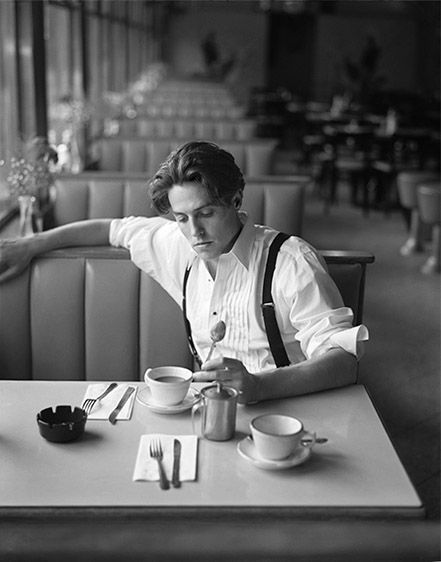 Hugh Grant. Love everything about this photo, Huge Grant, of course, location where photo was took, his outfit and classy bw..