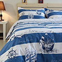 Norson Mediterranean Bedding Sets, Bedding Nautical Sailor, Marine Bedding, Simple Blue and White Patterned Cotton Bedding, Queen, 4pcs