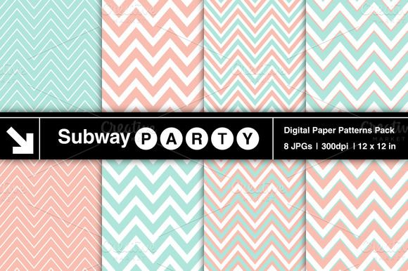 Check out Pastel Mint & Coral Chevron Patterns by SubwayParty on Creative Market