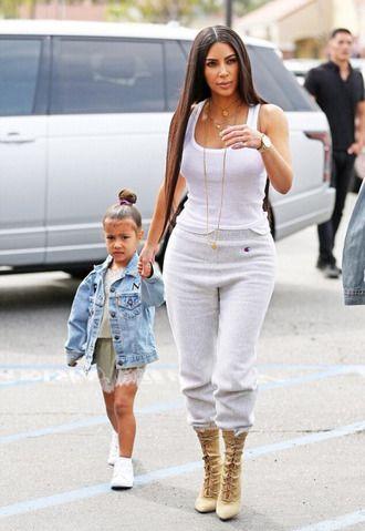 pants sweatpants top tank top streetstyle kardashians kim kardashian north west kids dress