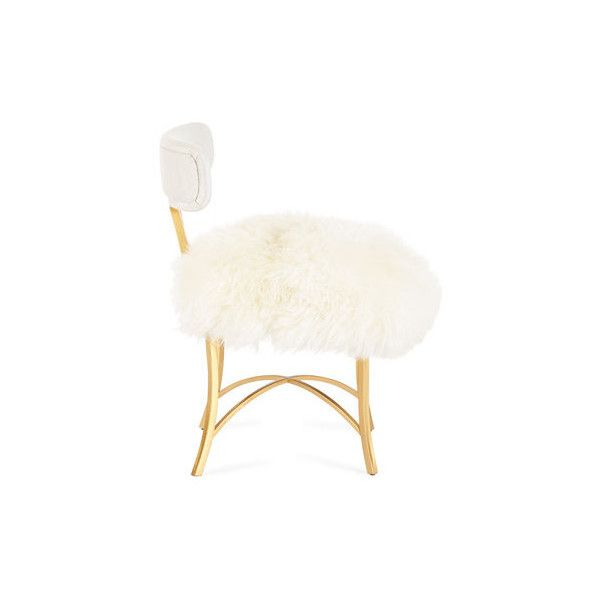 Cynthia Rowley For Hooker Furniture Swanson Sheepskin Side Chair ($1,349) ❤ liked on Polyvore featuring home, furniture, chairs, dining chairs, handmade chairs, handmade furniture, set of two chairs, painted furniture and set of 2 dining chairs