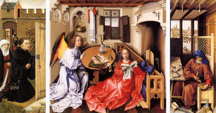 ROBERT CAMPIN: Annunciation Triptych (Merode Altarpiece), ca. 1427–1432.  The Cloisters-Met Museum, N.Y. One of the most celebrated early Netherlandish paintings—particularly for its detailed observation, rich imagery, and superb condition—this triptych belongs to a group of paintings associated with the Tournai workshop of Robert Campin, who is sometimes referred to as the Master of Flémalle. LINK to read more.