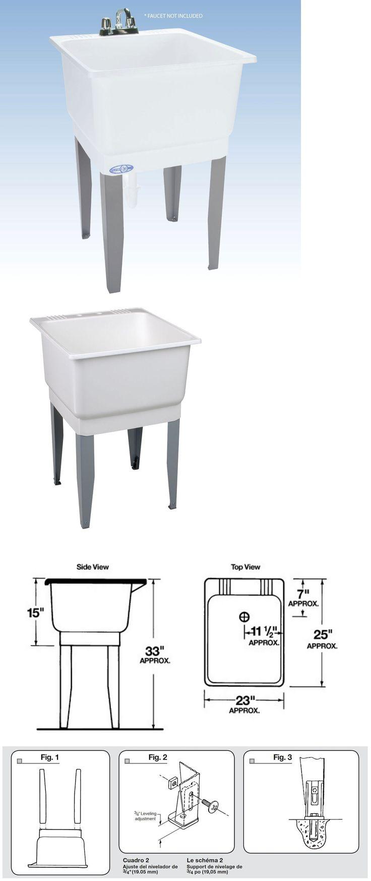 Laundry sink ebay - Sinks 71283 Freestanding Utility Sink Laundry Tub Floor Mount Single Faucet Wash Bowl Basin