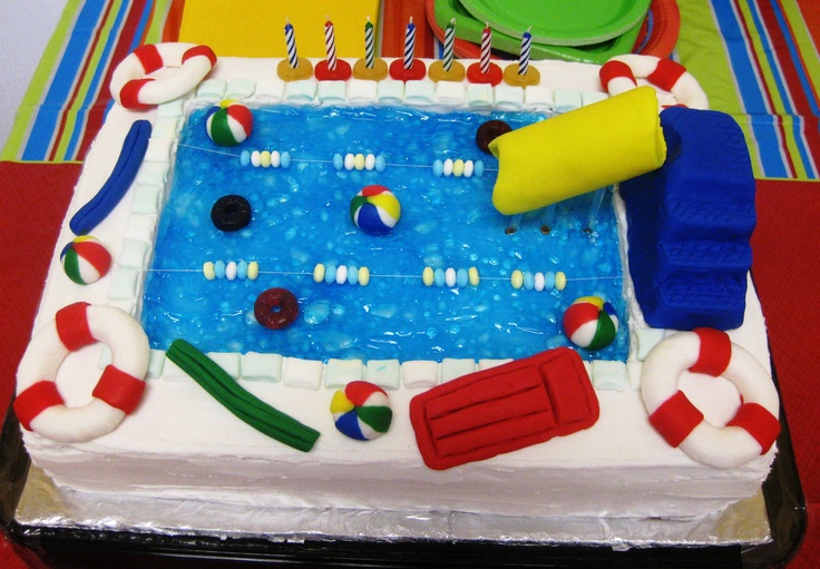 my swimming pool cake for braden  s 7th birthday indoor