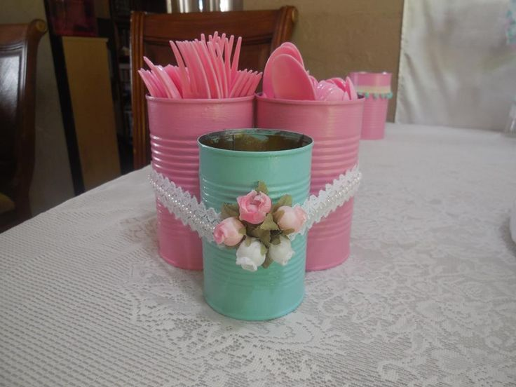 Shabby Chic Baby Shower utensils containers, made with painted cans.