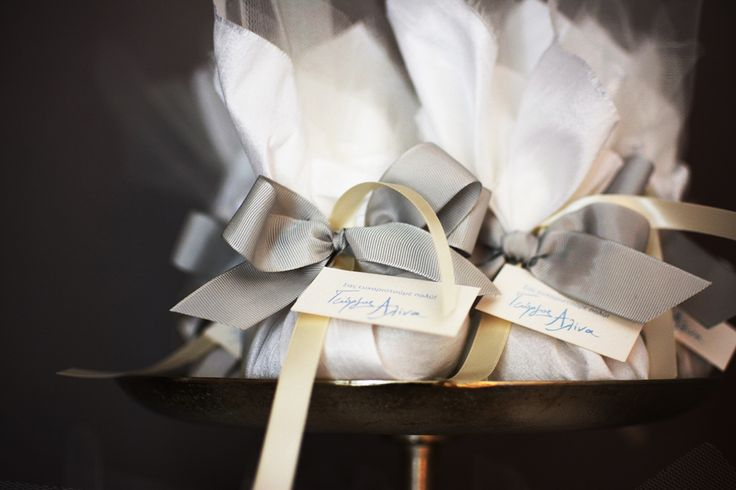 Silk favors with tiny thank you cards for special occasions and luxury weddings.