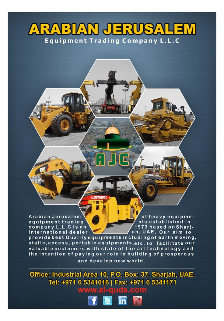 A professional Equipment Source,  Visit us at: www.al-quds.com  #Heavyequipment #Earthmoving #constructionmachinery #AJC #Motorgrader #excavator