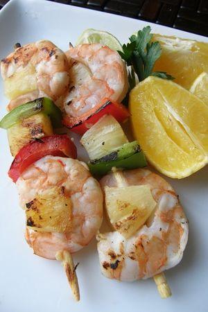 17 recetas de brochetas a la parrilla: Brochetas de camarón citrus