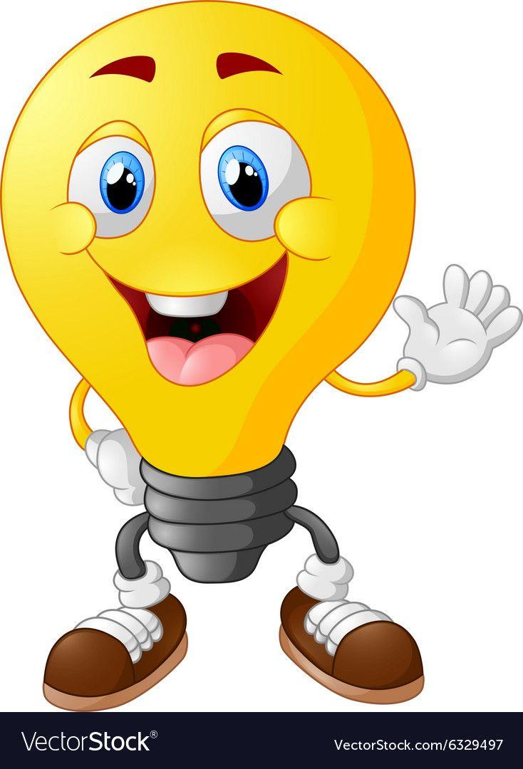 Cartoon Light Bulb Vector Image On Vectorstock In 2020 Cartoon Light Bulb Drawing For Kids Funny Emoji Faces
