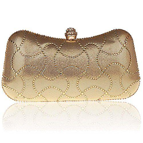 Creeracity Fashion Clutch Bag Purse Wallet Crystals Rhinestones Handbag Party Evening Prom Wedding