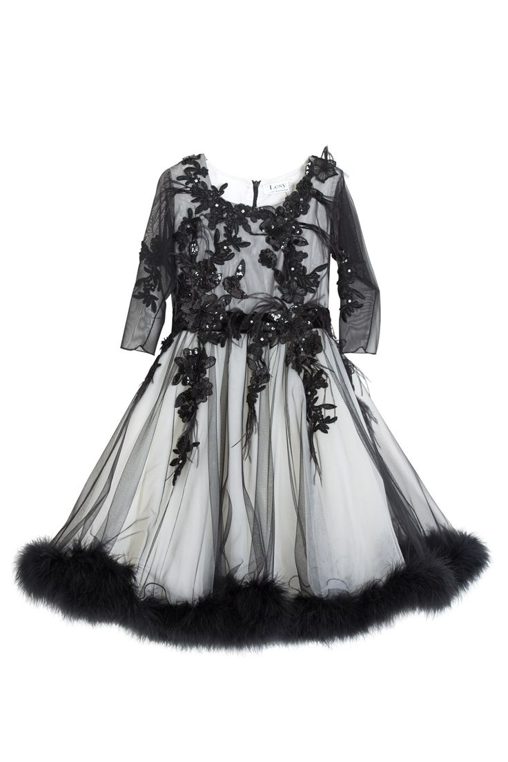 Luxury dress with flowers, diamonds and marabou feathers