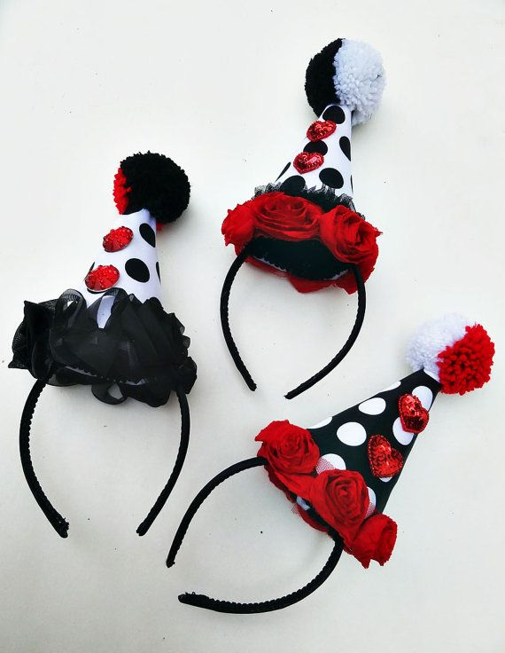 Clown Hat Circus Costume Red Hearts Black and by BatcakesCouture, $47.95