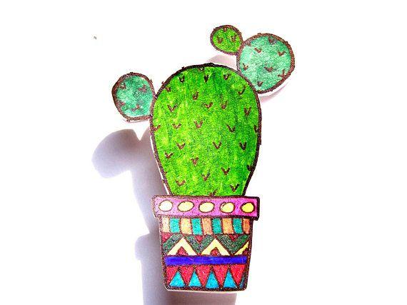 A cute opuntia brooch, shrink plastic brooch, funny brooch, cactus brooch