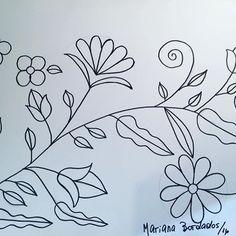 Patrón para bordar!! Un básico de flores, hojas y rulos!!! ✏️✏️✏️✏️ #patron #bordado #flores #hojas #rulos #dibujo #bordardapaz #dibujaresgenial #marianabordados #bordardapaz ✏️✏️✏️✏️