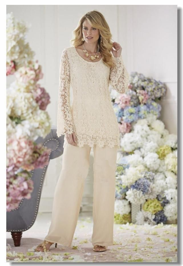 Elegant ivory lace chiffon two piece mother of the bride for Dress pant suits for weddings plus size