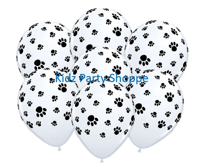 """7ct PAW PRINTS 11"""" Latex Balloons Dog Cat Animal Birthday Party Supplies Décor"""