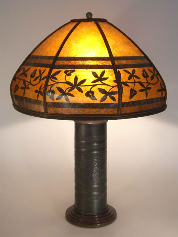 antique brass WW1 Trench Art lamp with bent mica lamp shade