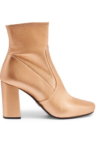 Heel measures approximately 85mm/ 3.5 inches Gold textured-leather Zip fastening along side Made in Italy