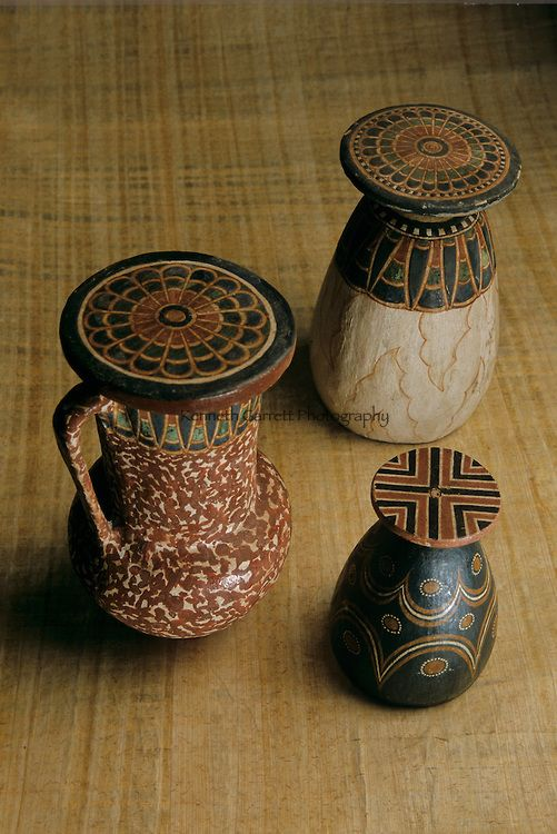 Imitation Stone vessels; Painted wood; Reign of Amenhotep III,Tutankhamun and the Golden Age of the Pharaohs,