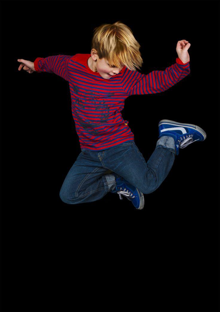 Rood/blauw gestreepte t-shirt met tijgerprint - boys, maat 92 - 128, Stones and Bones, FW15, Mister Monkey and Misses Butterfly #monkeyandbutterfly #webshop #kidsfashion #online