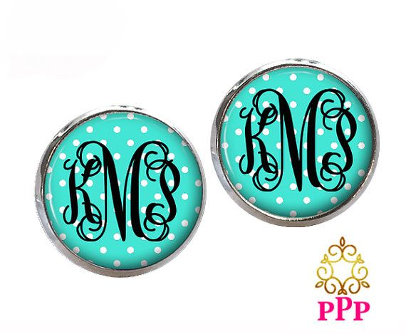 Aqua Blue Polka Dot Monogram Stud Earrings Monogram Earrings
