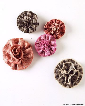 Give tweed flower pins as bridesmaid gifts; they can be worn at the wedding on dresses, shawls, or cardigans, or pinned to ribbon for a wrist corsage.