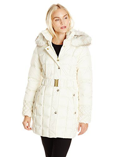 Betsey Johnson Women's Puffer Coat with Faux Fur Hood and Quilted Sleeve, Ivory, Small. Mixed-quilt coat featuring standing collar with detachable hood trimmed in faux fur. Front zipper with snap placket cover. Elasticized belted waist. Diamond-quilt cuffs.