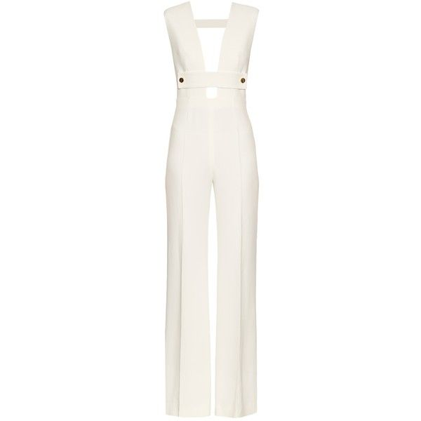 La Mania Todavis plunging V-neck cady jumpsuit ($1,038) ❤ liked on Polyvore featuring jumpsuits, la mania, cream, plunge jumpsuit, white plunge neck jumpsuit, white jumpsuit, plunging neckline jumpsuit and white wide leg jumpsuit