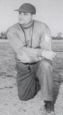"This 1949 photograph of Woodrow ""Woody"" Hayes was published in Miami University's Football Media Guide. Hayes coached at Miami University in Oxford, Ohio from 1949 to 1950. After leaving Miami, he led The Ohio State University Buckeyes to two national championships and 13 Big Ten titles between 1951 and 1978."