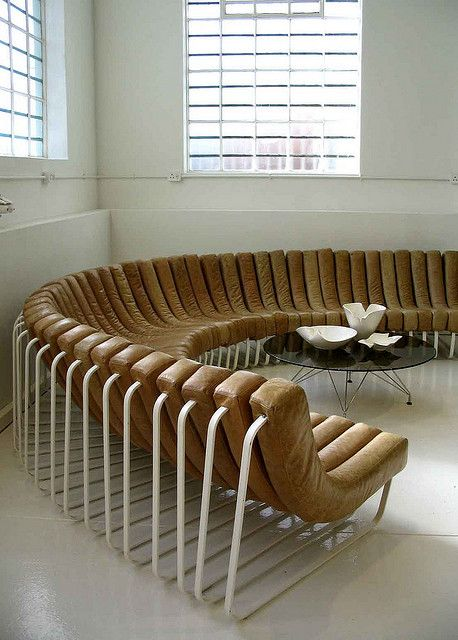 Haldane Martin; Steel and Leather Modular 'Songololo' Sofa, 2007.