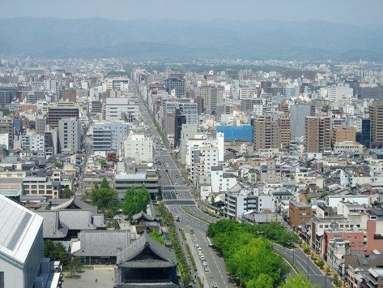 Beautiful city view from Kyoto Tower