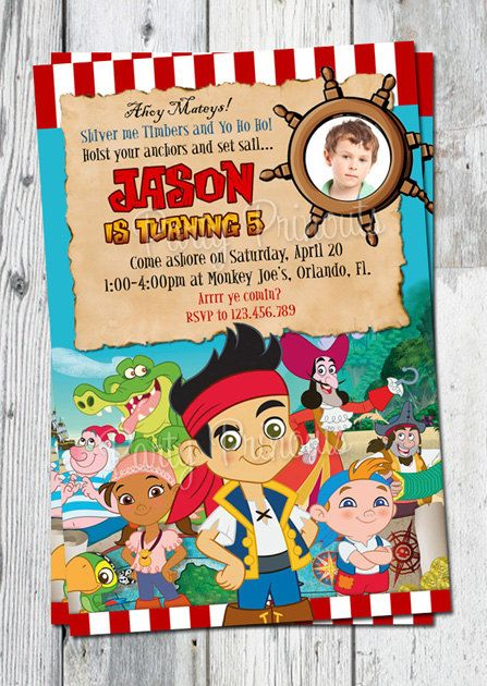 Jake And The Neverland Pirates Birthday Invitation Printable Boys Pirate Invite Matching Party Printables Other Invitations Available