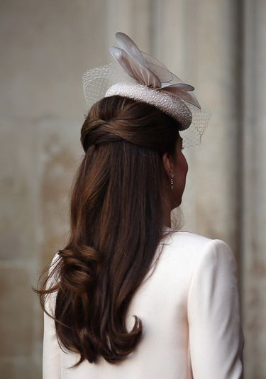 20 Bridal Hairstyles: Steal this look! Kate Middleton's half-up half down with a bespoke fascinator by milliner Jane Taylor